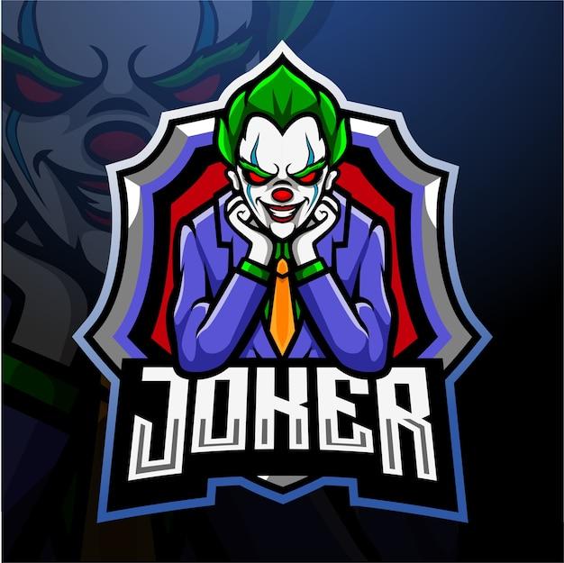 Joker mascotte esport logo ontwerp