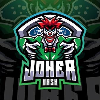 Joker masker esport mascotte logo ontwerp