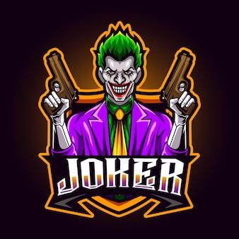 Joker pistool mascotte voor sport en esports logo vectorillustratie