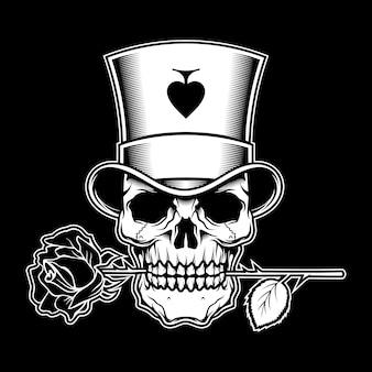 Joker poker met roos Premium Vector