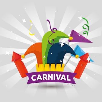 Jokerhoeddecoratie met vlaggen en vuurwerk tot carnavalviering