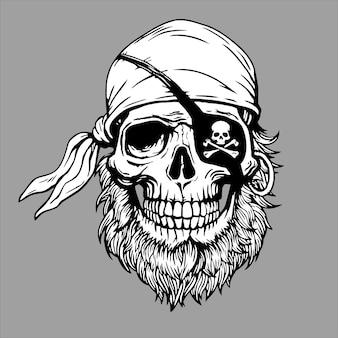 Jolly roger pirate hoofdbandana met schedel. illustratie