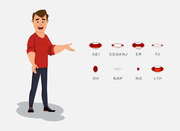Jong beambtekarakter met verschillende lip sync