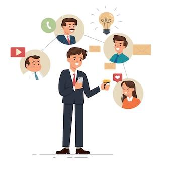 Jong bedrijf met behulp van zijn telefoon voor video-oproep, chat en sociale media