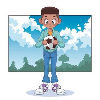 Jong de jongensjong geitje van de afro-tiener met voetbalballon in de landschapsillustratie