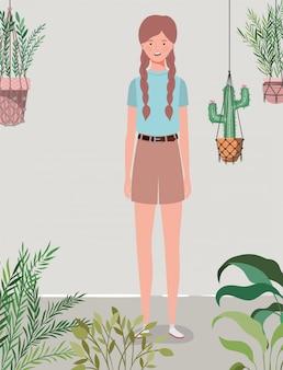 Jong en mooi meisje in het tuinkarakter