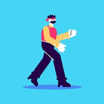 Jong geblinddoekt personage loopt in het donker zijaanzicht bedrijfsrisico's gebrek aan informatie