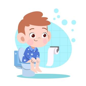 Jong geitjejongen het poepen in toiletillustratie