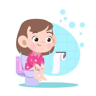 Jong geitjemeisje het poepen in toiletillustratie