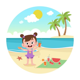 Jong geitjemeisje het spelen op de strandillustratie