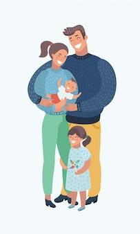 Jong gezin met kinderen Premium Vector