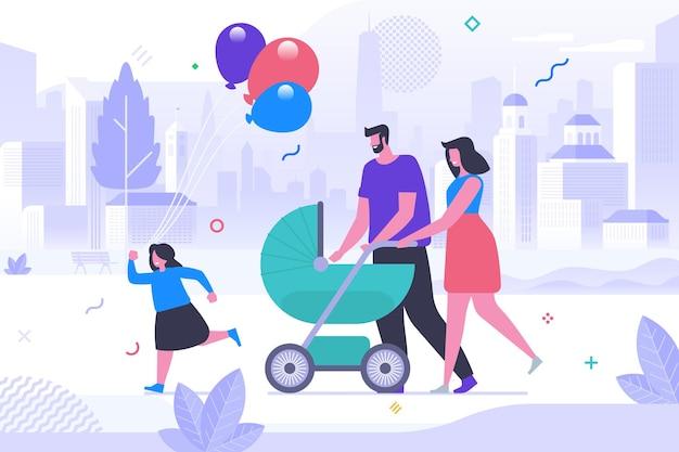 Jong gezin op wandeling platte vectorillustratie. vrolijke moeder, vader met stripfiguren voor kinderen. echtpaar met kinderwagen, klein meisje met feestelijke ballonnen. gelukkig ouderschap, vrije tijd in de buitenlucht