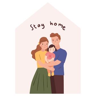 Jong gezin thuis blijven, quarantaine concept