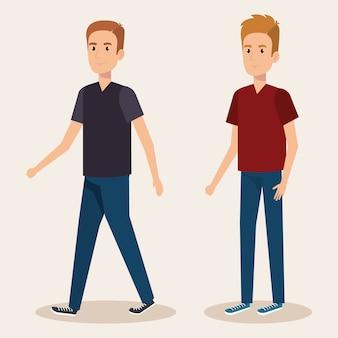 Jong jongensavatars ontwerp van de karakters het vectorillustratie