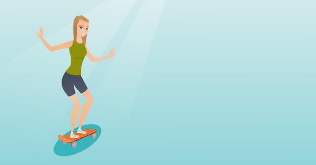 Jong kaukasisch vrouwen berijdend skateboard.