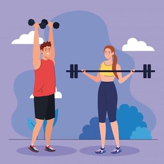 Jong koppel beoefenen van sport in de buitenlucht, sport recreatie oefening