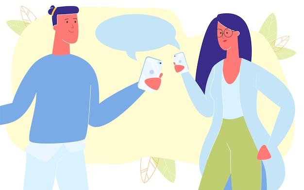 Jong koppel communiceren via smartphones, chatten
