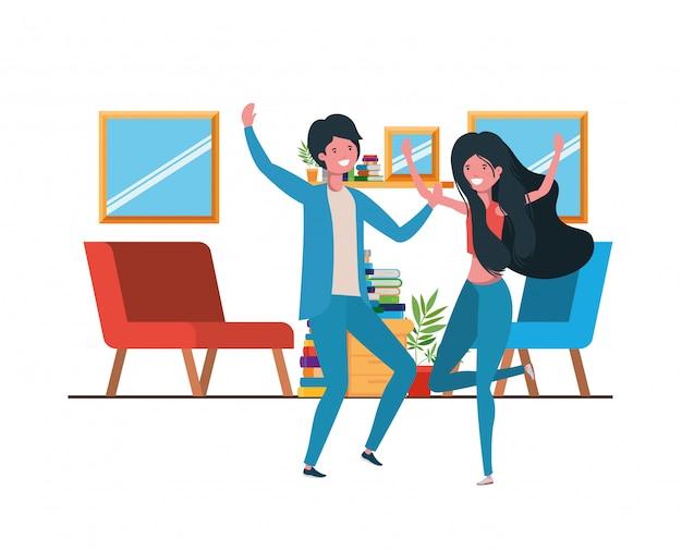 Jong koppel dansen in woonkamer karakter