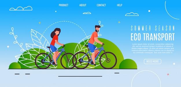 Jong koppel geopend zomerseizoen eco-vervoer
