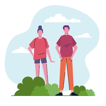 Jong koppel in het park avatars tekens illustratie