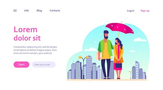 Jong koppel in regen vectorillustratie. man en vrouw in regenjassen die zich onder paraplu op stedelijke straat bevinden. herfstregenbeeld voor weer, seizoen, klimaatconcept