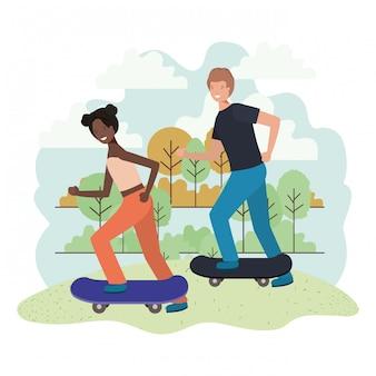Jong koppel in skateboards tekens
