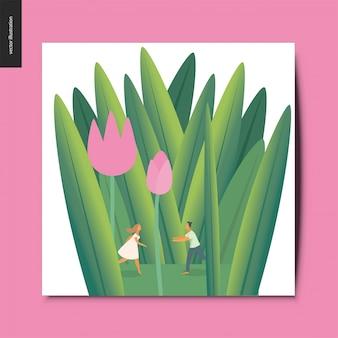 Jong koppel in tulpen