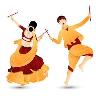 Jong koppel karakter dansen met dandiya-sticks.