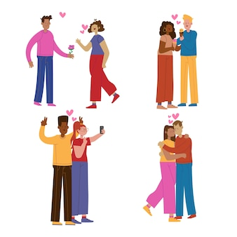 Jong koppel knuffelen en tijd samen doorbrengen