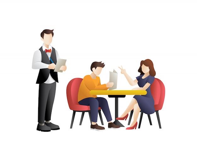 Jong koppel met diner in een restaurant