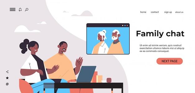 Jong koppel met virtuele ontmoeting met grootouders tijdens video-oproep familiechat online communicatieconcept portret horizontale kopie ruimte illustratie
