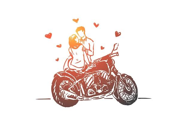 Jong koppel op datum buitenshuis, vriendin en vriendje illustratie