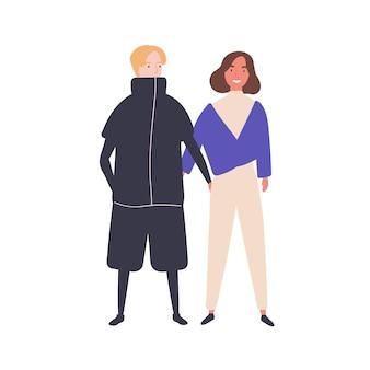 Jong koppel platte vectorillustratie. gelukkige tieners, jong meisje en jongen. moderne relatie, tederheid en sympathie voor manifestaties concept. glimlachende tieners houden elkaar stripfiguren vast.