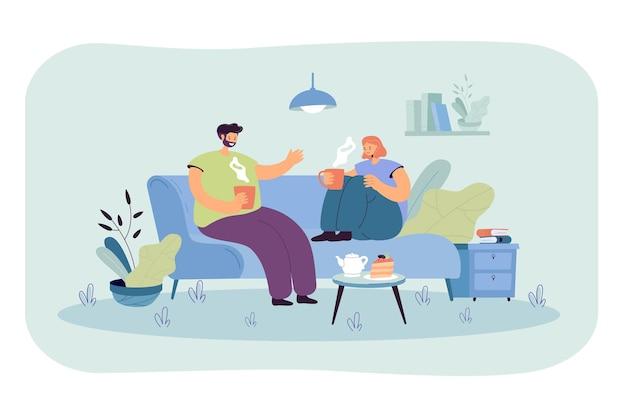 Jong koppel romantische avond samen doorbrengen in hun flat.