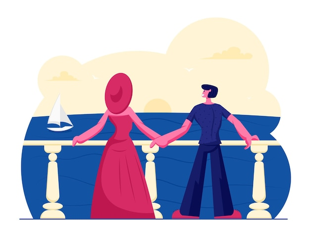 Jong koppel staan op terras kijken op prachtig zeegezicht met drijvend zeilschip. cartoon vlakke afbeelding