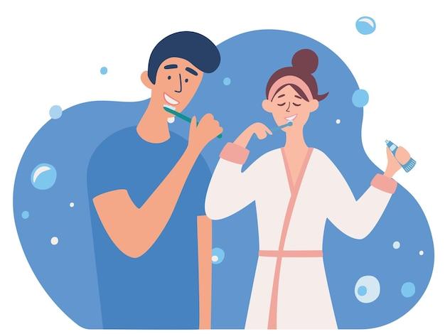 Jong koppel tandenpoetsen samen. vriend en vriendin samen in de badkamer. ochtendroutine, zorgen voor tandheelkundige gezondheid. dagelijkse hygiënische procedure. vectorillustratie in een vlakke stijl