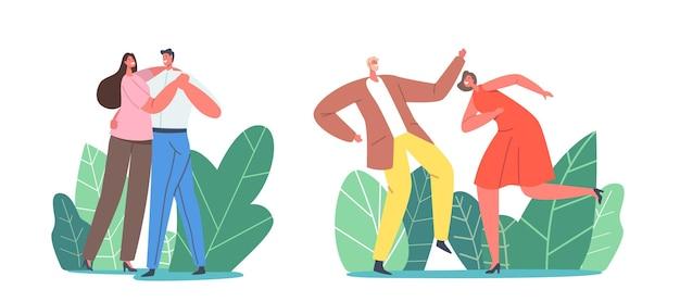 Jong koppel tekens dansen. mannen en vrouwen in feestelijke kleding vrije tijd, actieve levensstijl, geliefden of vrienden breng tijd door op discofeesten, danshobby vrije tijd. cartoon mensen vectorillustratie