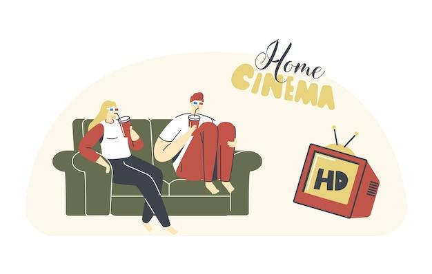 Jong liefdevol stel dat thuis tv kijkt met frisdrank