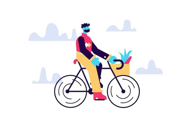 Jong mannelijk karakter dat een dagelijkse routine van de fiets duizendjarige levensstijl berijdt