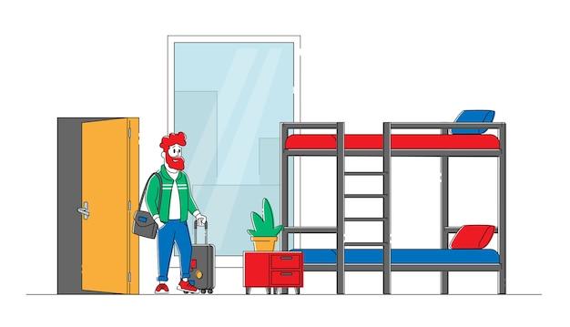 Jong mannelijk personage met bagage betreedt hostelkamer met stapelbed om 's nachts te verblijven