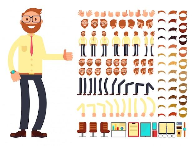 Jong mannelijk zakenmankarakter met gebaren die voor animatie worden geplaatst. vector creatie constructor