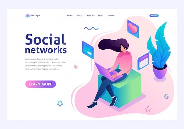 Jong meisje communiceert in een sociaal netwerk via de laptop. van sociale netwerken. 3d isometrisch