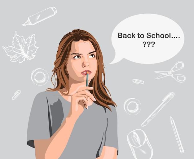 Jong meisje dat een potlood vasthoudt en erover denkt terug naar school te gaan. banner met lijntekeningen schoolbenodigdheden