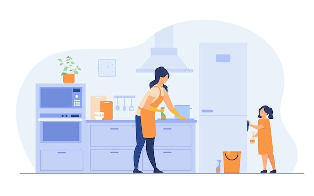 Jong meisje dat haar moeder helpt om de keuken schoon te maken, meubels af te stoffen, koelkast af te vegen. vectorillustratie voor gezinsactiviteiten thuis, huishoudelijk werk, huishoudelijk concept.