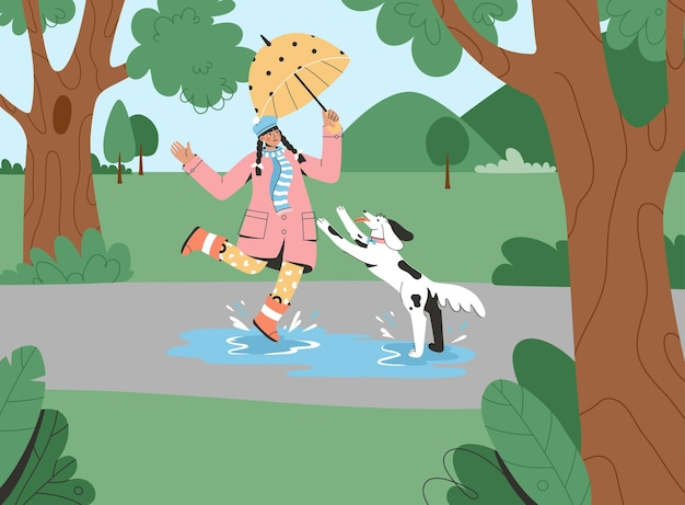 Jong meisje dat met paraplu met hond in park loopt