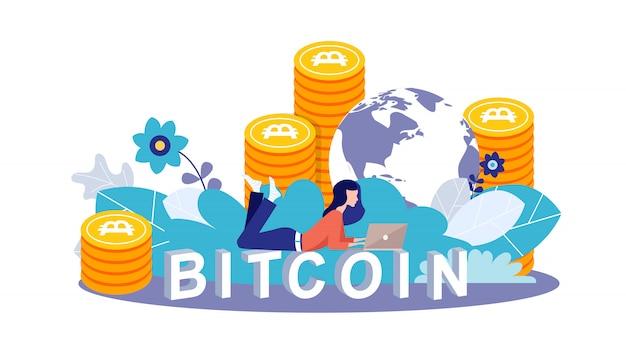 Jong meisje dat overlappingsbovenkant gebruikt voor het doen van investeringen voor bitcoin