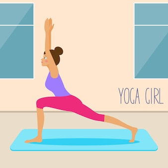 Jong meisje dat yoga-kaartsjabloon beoefent