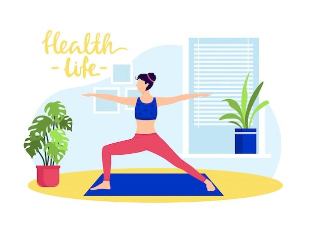 Jong meisje dat yoga thuis doet. gezondheid leven illustratie. vrouw karakter in sportkleding stretch lichaam, oefeningen op tapijt.