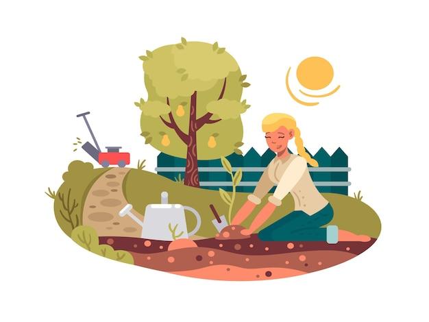 Jong meisje dat zaailing in groene tuin plant. vector platte illustratie