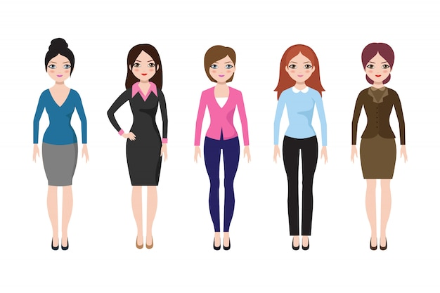 Jong meisje dat zich in verschillende geïsoleerde vrijetijdskleding bevindt. zakenvrouw in jurk en broek vector set